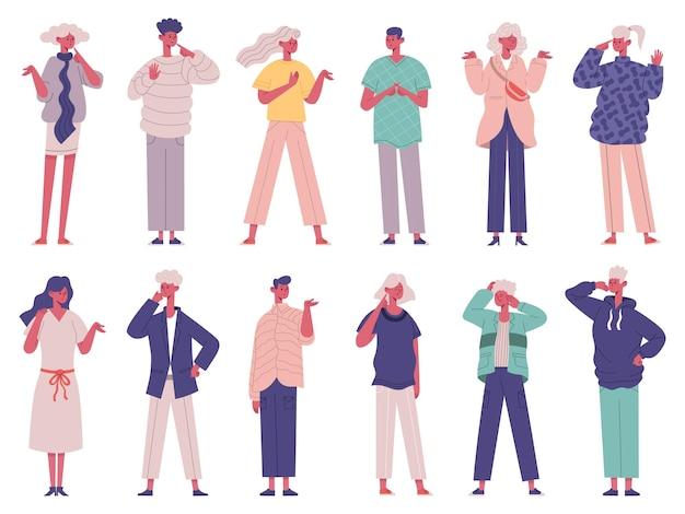 Besluit of keuze maken doordachte onbesliste peinzende karakters. onbeslist denken mensen groep vector illustratie set. peinzende nadenkende personen
