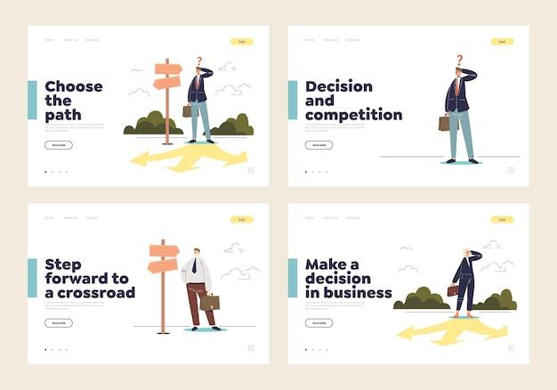 Besluitvorming en ontwikkelingsrichting waarbij het concept van een reeks zakelijke bestemmingspagina's wordt gekozen met cartoonondernemers die op een kruispunt staan en nadenken over de oplossing.