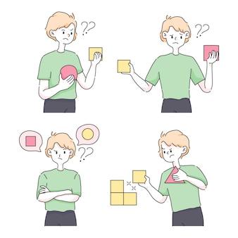 Besluitvorming het kiezen van optiesconcept leuke illustratie