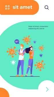 Besmette mensen met gezichtsmaskers die lijden aan angst- en coronavirus-symptomen