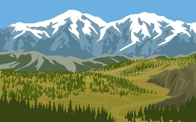 Besneeuwde berglandschap met dennenbos