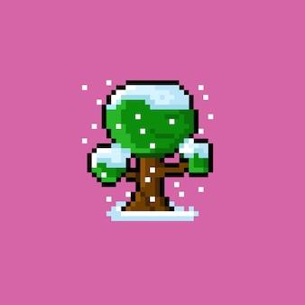 Besneeuwde boom met pixelkunststijl