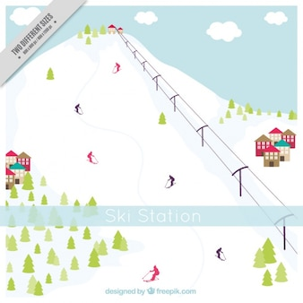 Besneeuwde hoge berg achtergrond en skigebied