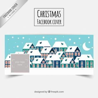 Besneeuwde Kerst dorp Facebbok dekking