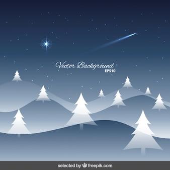 Besneeuwde kerst landschap achtergrond