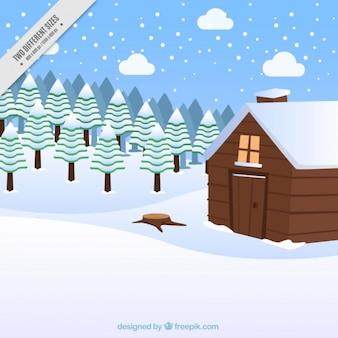 Besneeuwde landschap achtergrond met mooie cabine