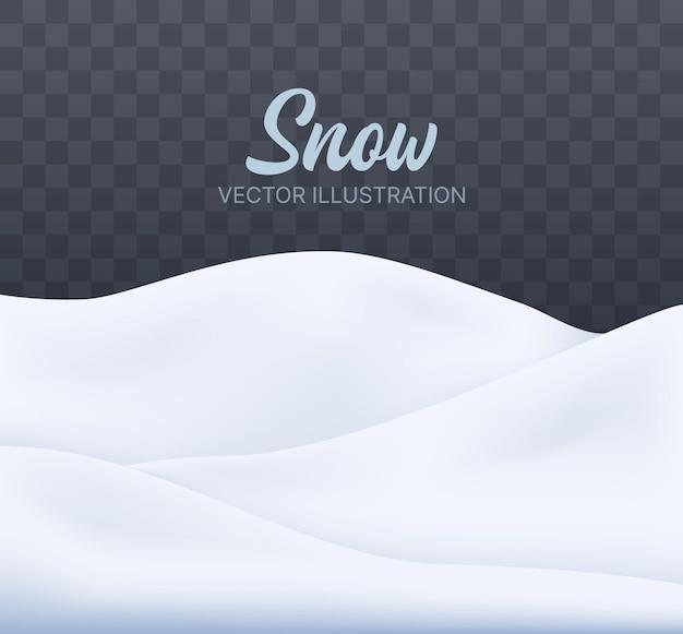 Besneeuwde landschap geïsoleerde vector winter achtergrond met besneeuwde heuvels kerst achtergrond