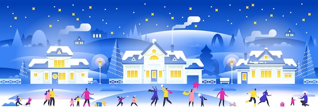 Besneeuwde nacht met mensen in het gezellige panorama van de stad