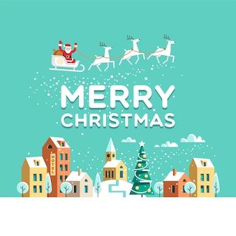 Besneeuwde straat. stedelijk winterlandschap. kerstman met herten in de lucht boven de stad. kerst stad.