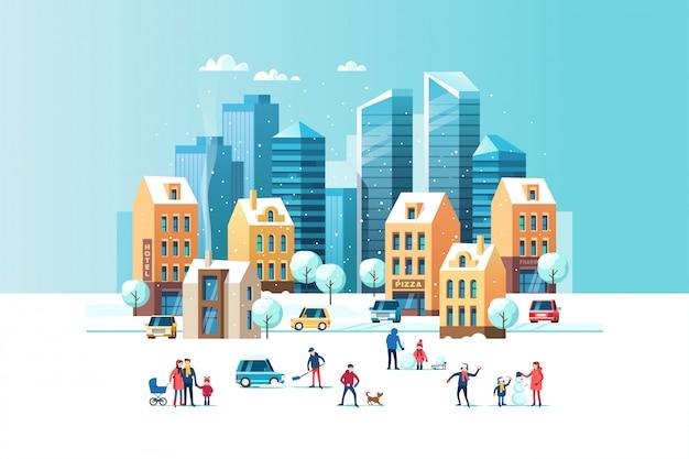 Besneeuwde straat. stedelijk winterlandschap met mensen, moderne wolkenkrabbers en traditionele stadshuizen. illustratie.