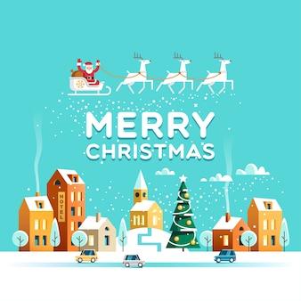 Besneeuwde straat stedelijke winterlandschap kerstman met herten in de lucht boven de stad christmas city