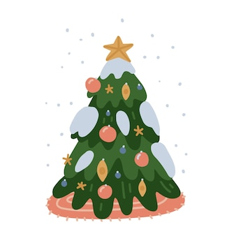 Besneeuwde versierde kerstboom buiten de deur geïsoleerd op een witte achtergrond vrolijk kerstfeest en gelukkig nieuwjaar ca...