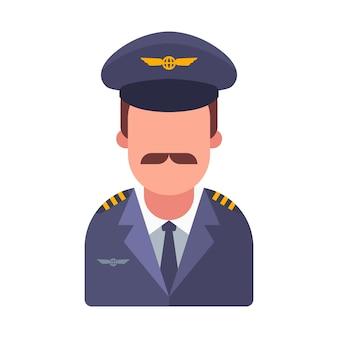 Besnorde piloot van een passagiersvliegtuig. platte karakter illustratie.