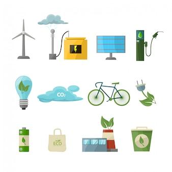 Bespaar energie icon set