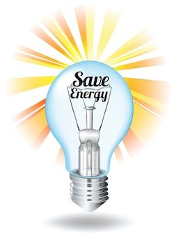 Bespaar energiethema met gloeilamp