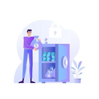 Bespaar geld concept illustratie