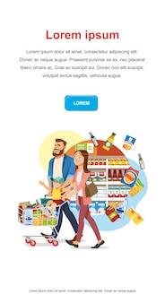 Bespaar geld korting in food shop vector web banner