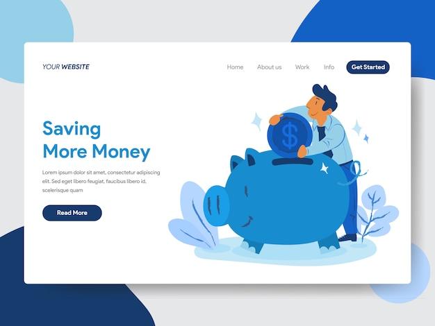 Bespaar geld met piggy bank illustratie voor webpagina's