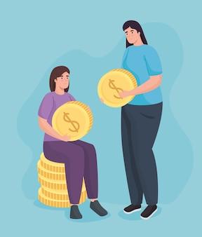 Bespaar geld van vrouwen die munten vasthouden Premium Vector