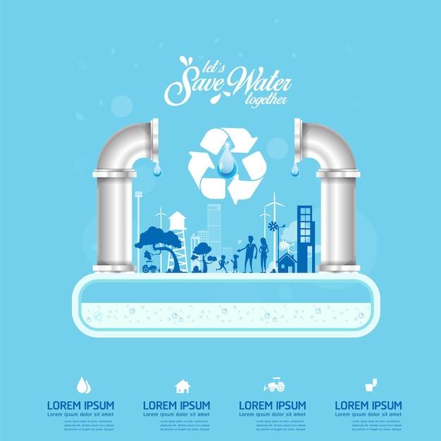 Bespaar het water, infographic poster sjabloon