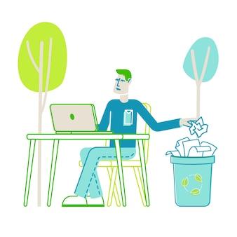 Bespaar papier en stop het snijden van bomen concept