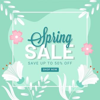 Bespaar tot 50% korting voor de lente verkoop posterontwerp versierd met bloemen en bladeren.