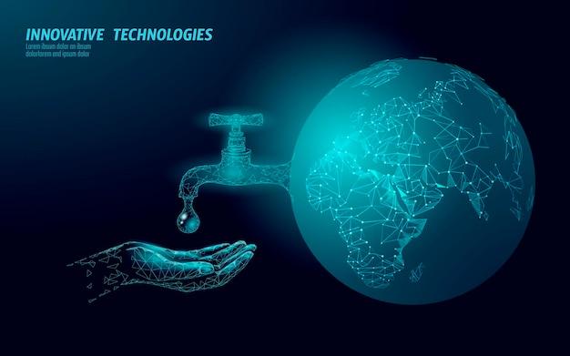 Bespaar water laag poly concept