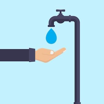 Bespaar water platte ontwerp vectorillustratie
