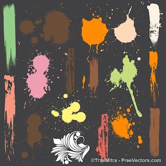 Bespatte schilderij kleuren met donkere achtergrond