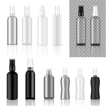 Bespotten realistische cosmetische spray flessen achtergrond illustratie Premium Vector