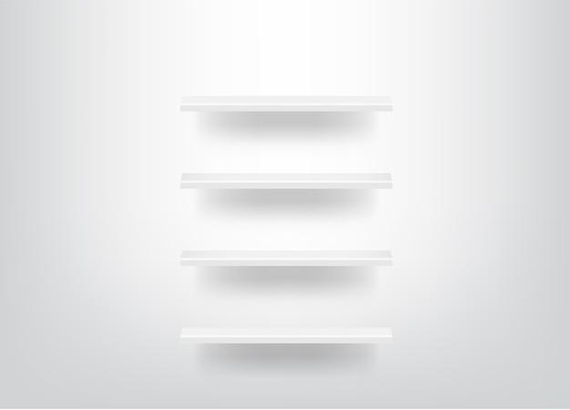 Bespotten realistische lege planken voor interieur met licht en schaduw achtergrond