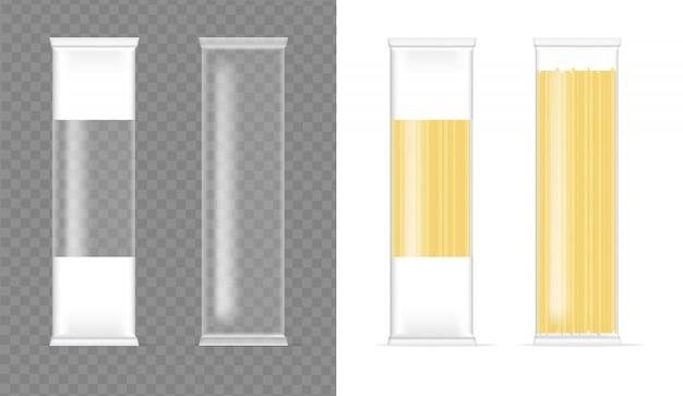 Bespotten realistische spaghetti transparante zakverpakking