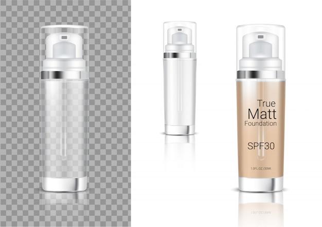 Bespotten van een realistische transparante fles met pompfles