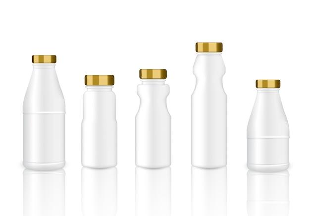 Bespotten van een realistische witte en gouden plastic verpakkingsfles