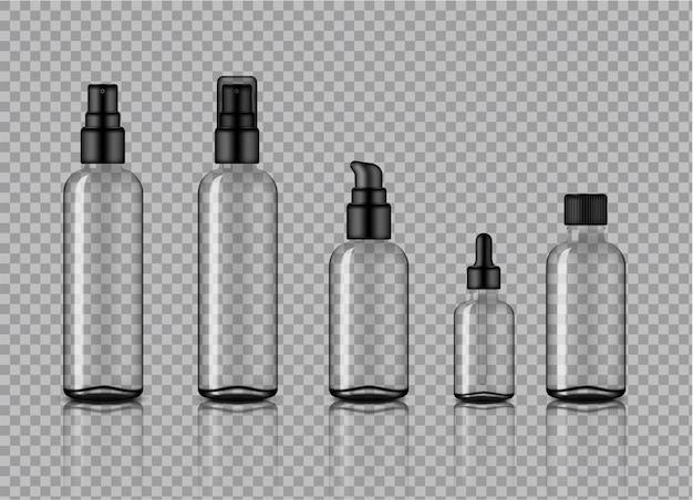 Bespotten van realistisch transparant cosmetisch glasflessenproduct