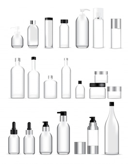 Bespotten van realistische glazen flessen