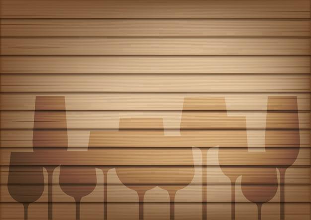Bespotten van realistische hout- en wijnglasschaduw
