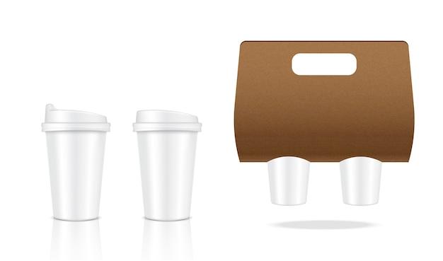 Bespotten van realistische koffie witte kop verpakking product