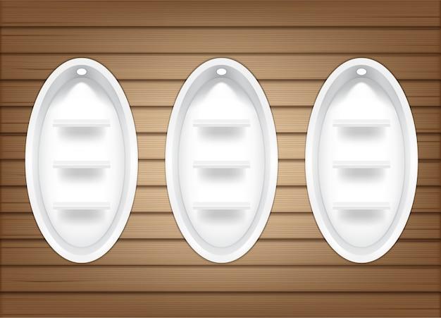 Bespotten van realistische lege ovale planken