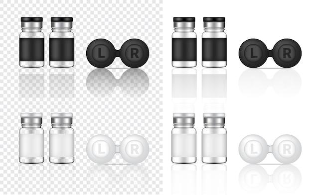 Bespotten van realistische lenzenflessen met transparant contact