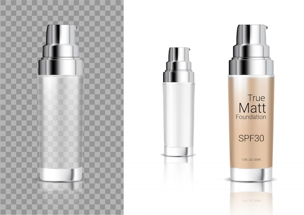 Bespotten van realistische transparante fles cosmetische zeep