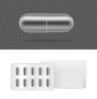 Bespotten van realistische transparante pil medicijncapsule.