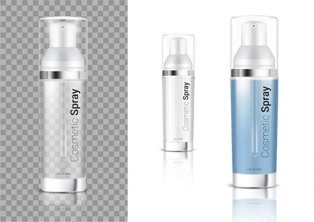 Bespotten van realistische transparante spuitfles cosmetica