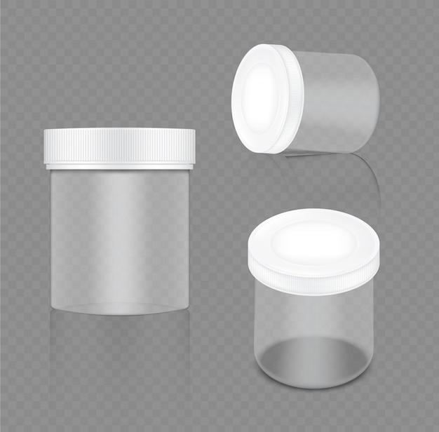 Bespotten van realistische transparante witte pot
