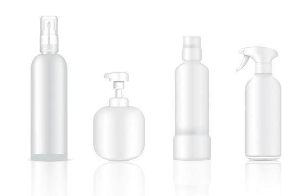 Bespotten van realistische witte cosmetische zeep, shampoo en spray