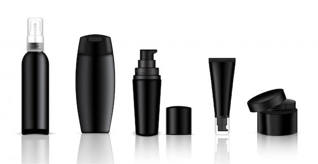 Bespotten van realistische zwarte cosmetische fles voor zeep, crème en spray