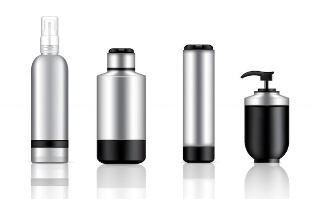 Bespotten van realistische zwarte en metalen cosmetische pompzeep, shampoo en spray