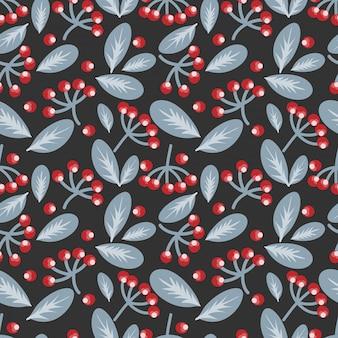 Bessen en bladeren naadloze patroon.