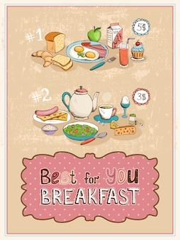 Best for you breakfast vintage posterontwerp met twee gekookte menu's.