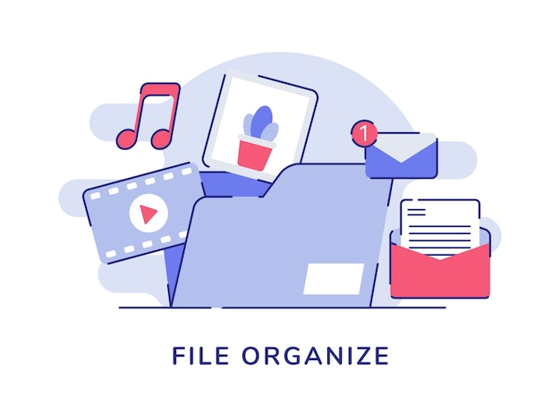 Bestand organiseren concept video muziek foto e-mailbericht in bestandsmap witte geïsoleerde achtergrond